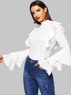 Mock Neck Tiered Sleeve Ruffle Top