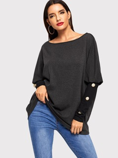 Button Detail Sleeve Scoop Neck Top