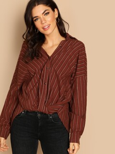 Drop Shoulder Draped Front Striped Blouse