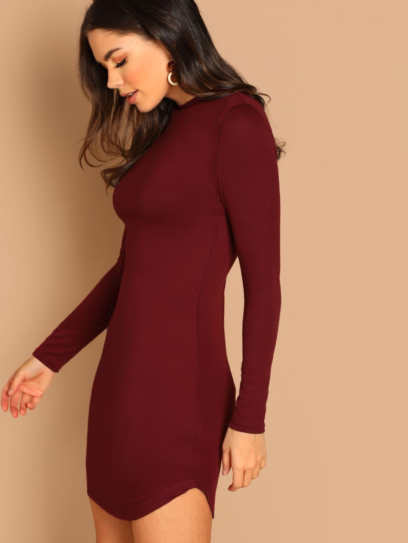 Фото - Облегающее платье с выгнутым подолом от SheIn цвет бургундия