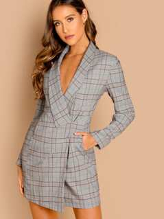 Shawl Collar Plaid Wrap Blazer Dress