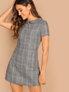 Peter-Pan-Collar Plaid Dress
