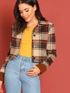 Button Up Plaid Crop Jacket