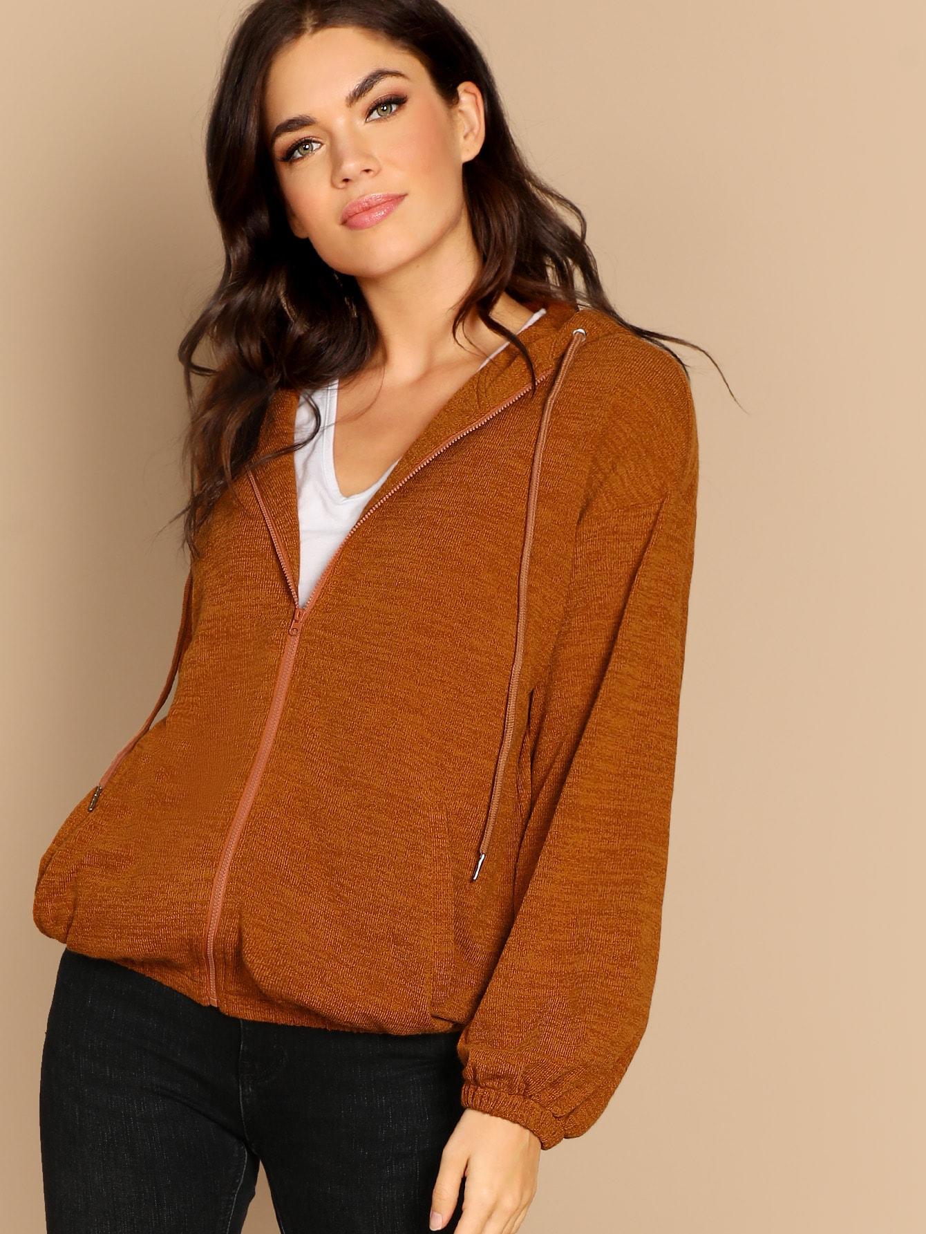 Купить Куртка с капюшоном на молнии, Aarika Wolf, SheIn