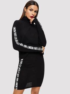 Lettering Tape Detail Ribbed Top & Skirt Set