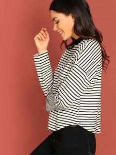 Mock-Neck Striped Tee