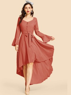 80s Bell Sleeve Half Placket High Low Dress