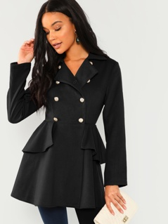 Double Breasted Ruffle Solid Coat
