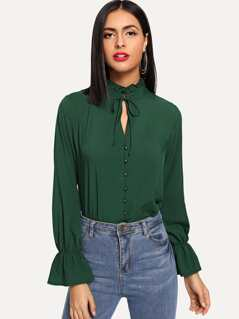 Frilled Neck Button Up Blouse