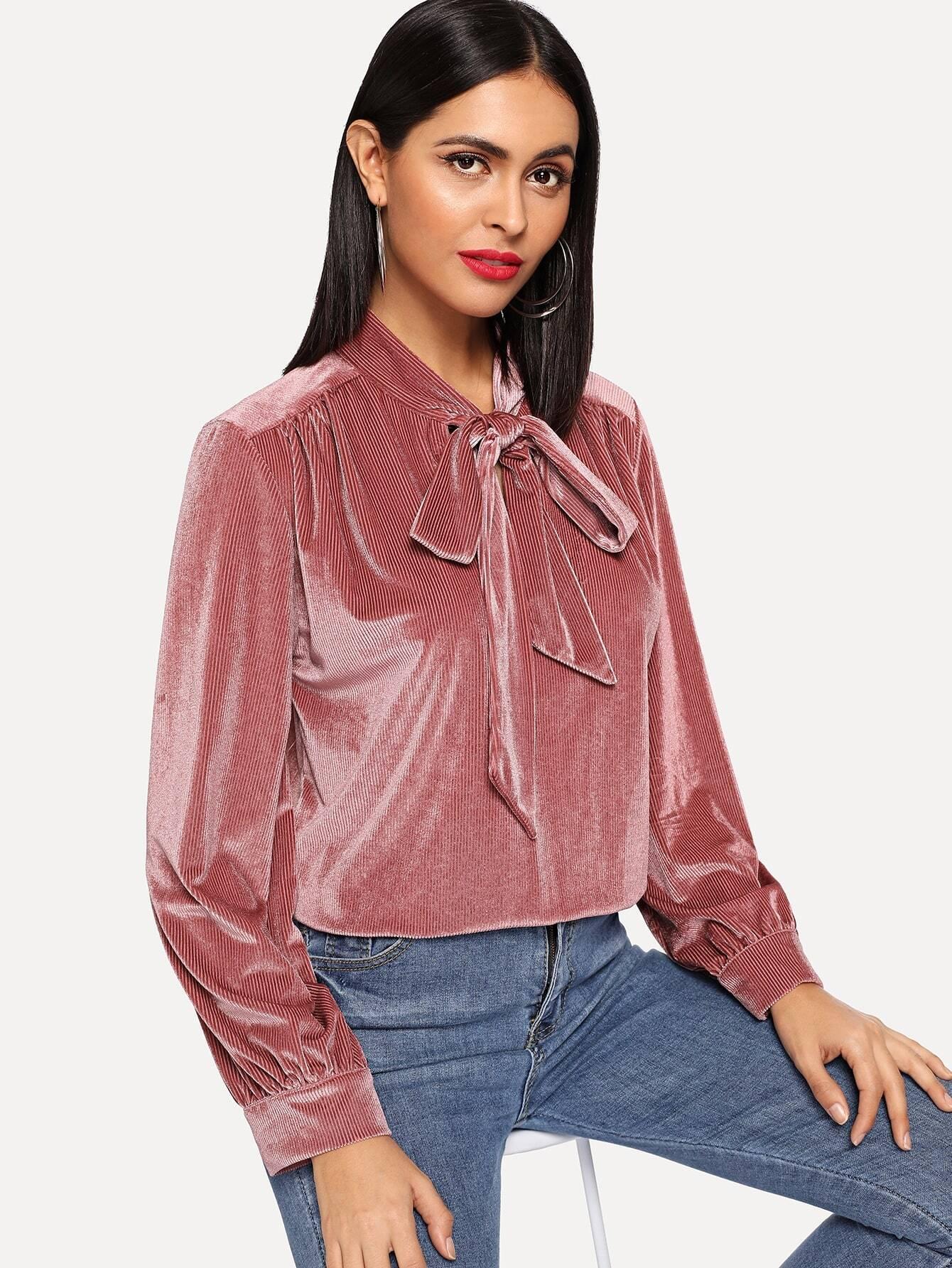 Купить Однотонная блуза с завязкой на шее, Verob, SheIn