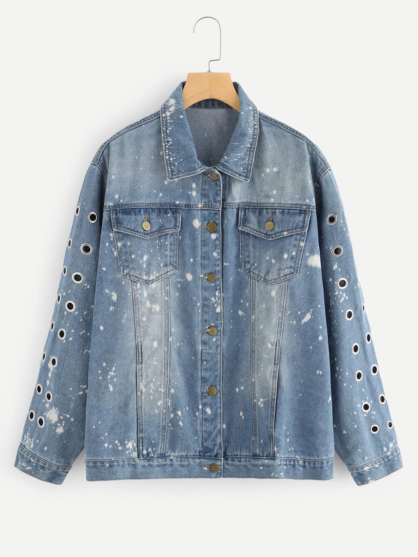 Купить Большая джинсовая ветровка с принтом всплеска, null, SheIn