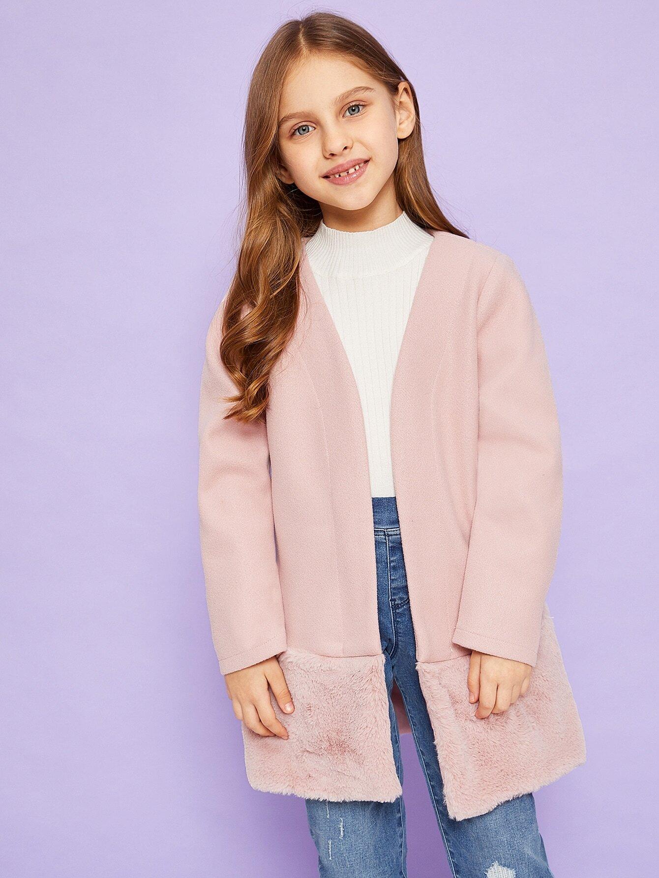 Купить Пальто с V-образным вырезом подол из искусственных мехов для девочек, Anna C, SheIn