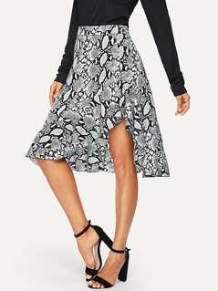 Wide Waistband Snake Skin Asymmetrical Skirt