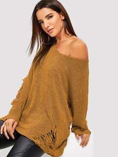 Rips Detail Boxy Sweater