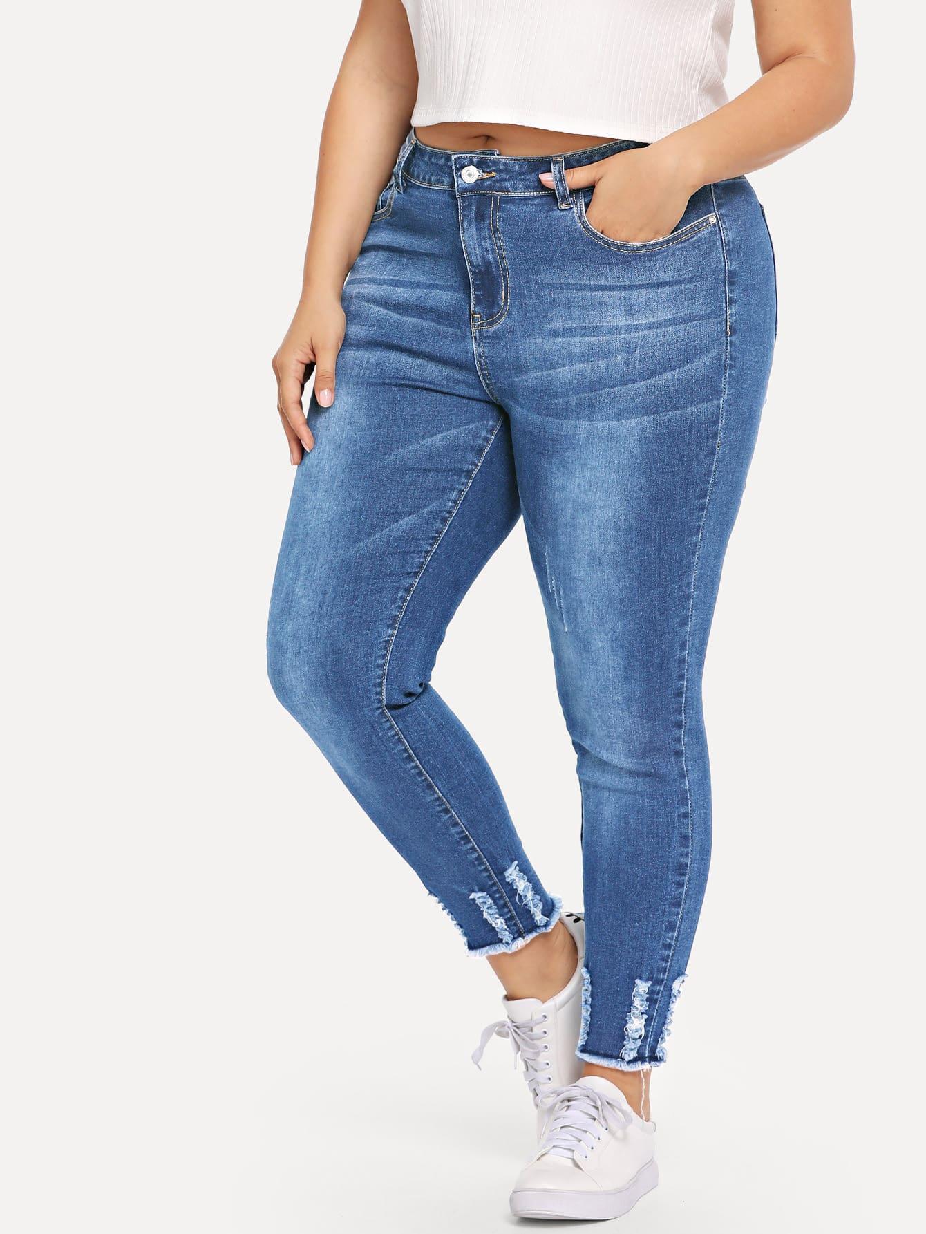 Купить Рваные джинсы с необработанным низом размера плюс, Franziska, SheIn
