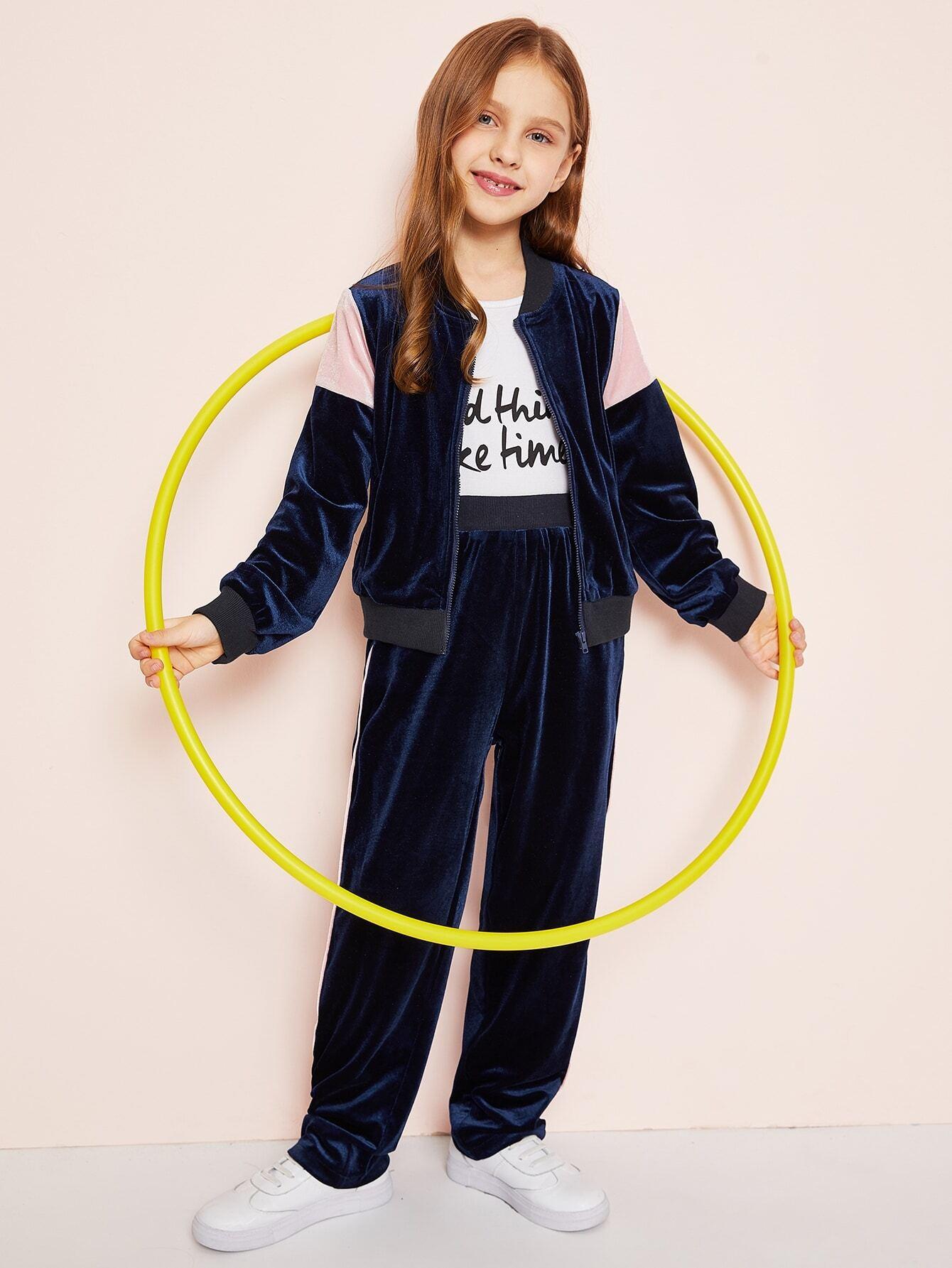 Купить Контрастная бархатная куртка и брюки комплект для девочек, Anna C, SheIn