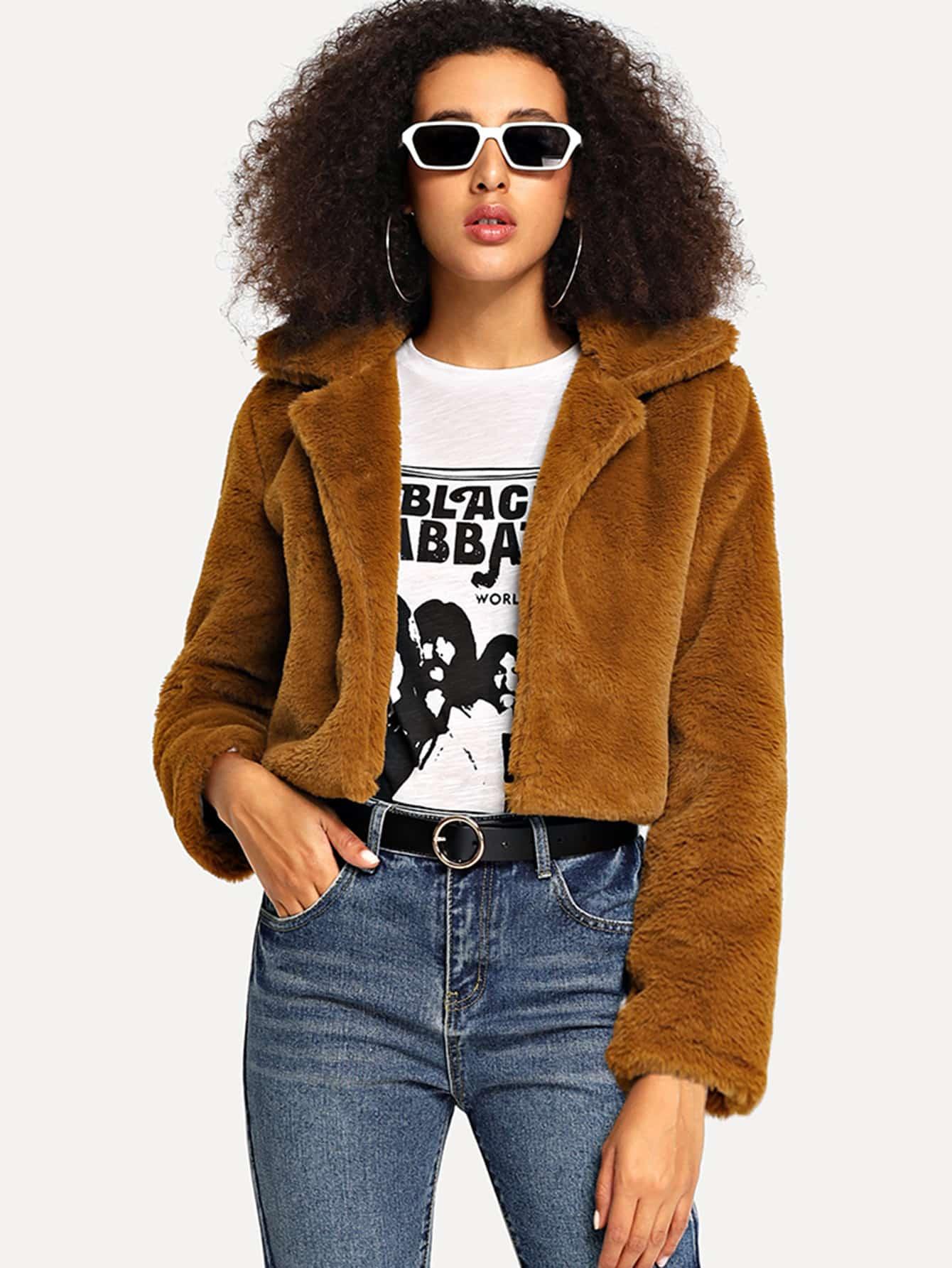 Купить Однотонное пальто тедди с капюшоном, Elaine, SheIn