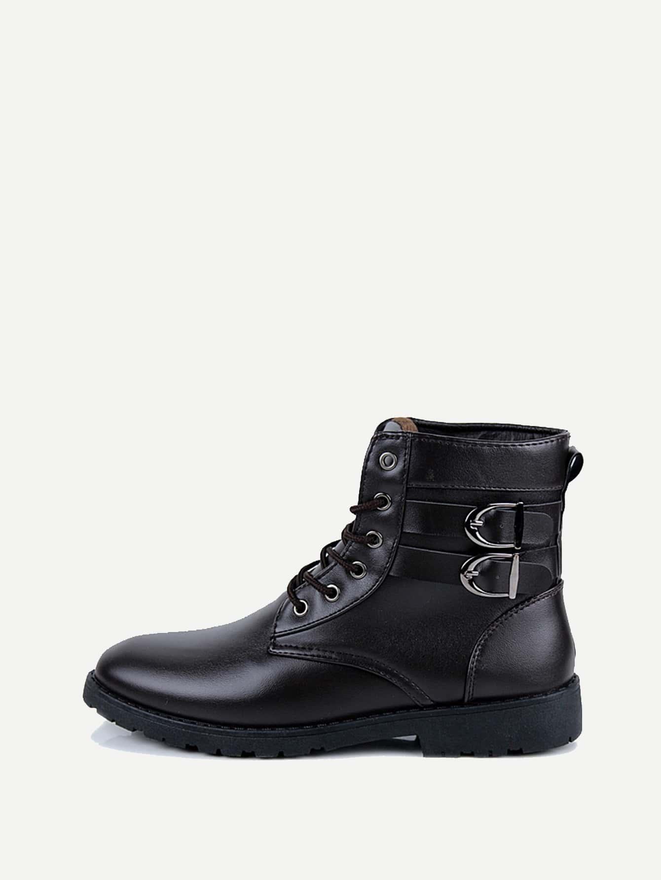 Купить Мужские сапоги с шнурками и двумя пряжки, null, SheIn