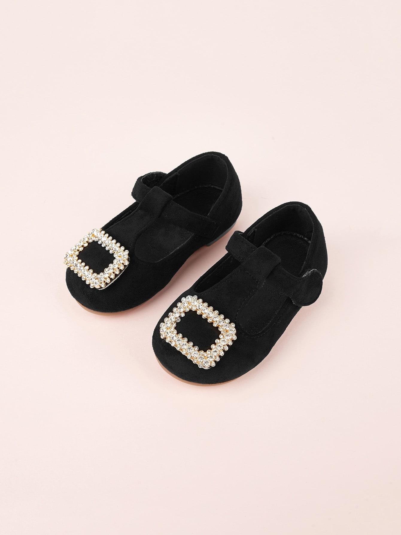 Купить Туфли на плоской подошве с горными хрусталями для маленьких малышей, null, SheIn