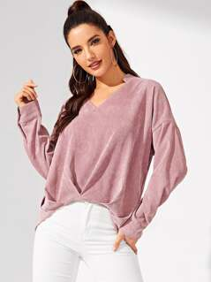 Ruched V-Neck Cord Top