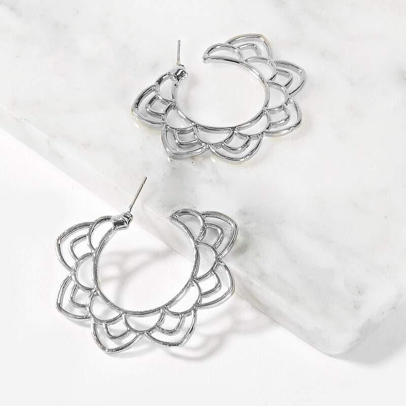 Hollow Lotus Hoop Earrings 1pair, Silver