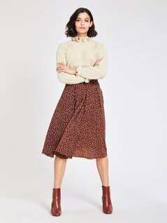 Zip Back Polka-dot Print Flare Skirt