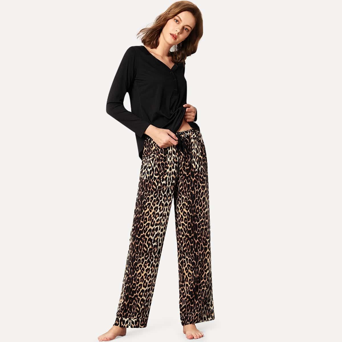 Effen broek met top en luipaard print PJ-set