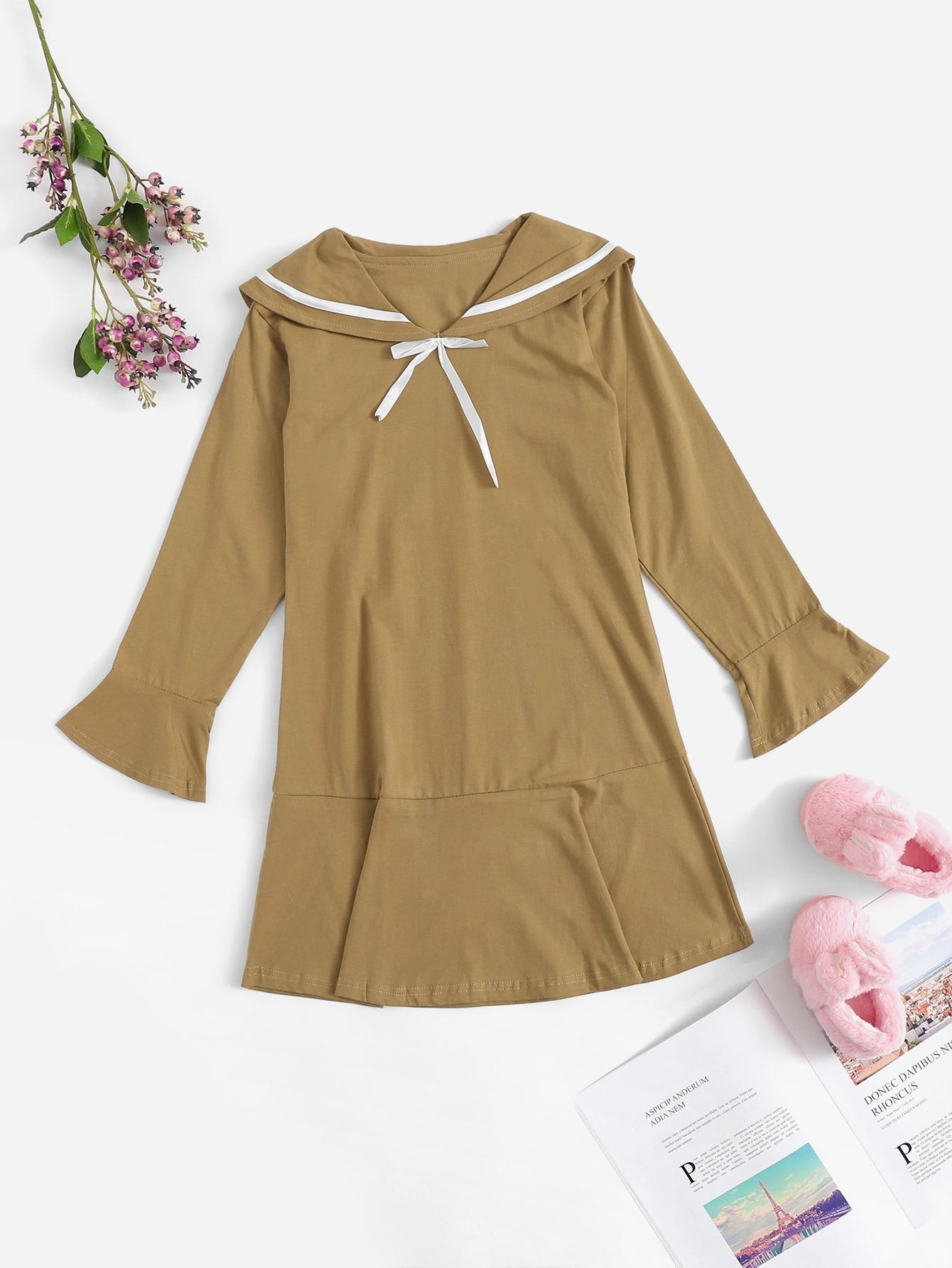 Асимметричное платье с оригинальным воротником для девочек от SheIn