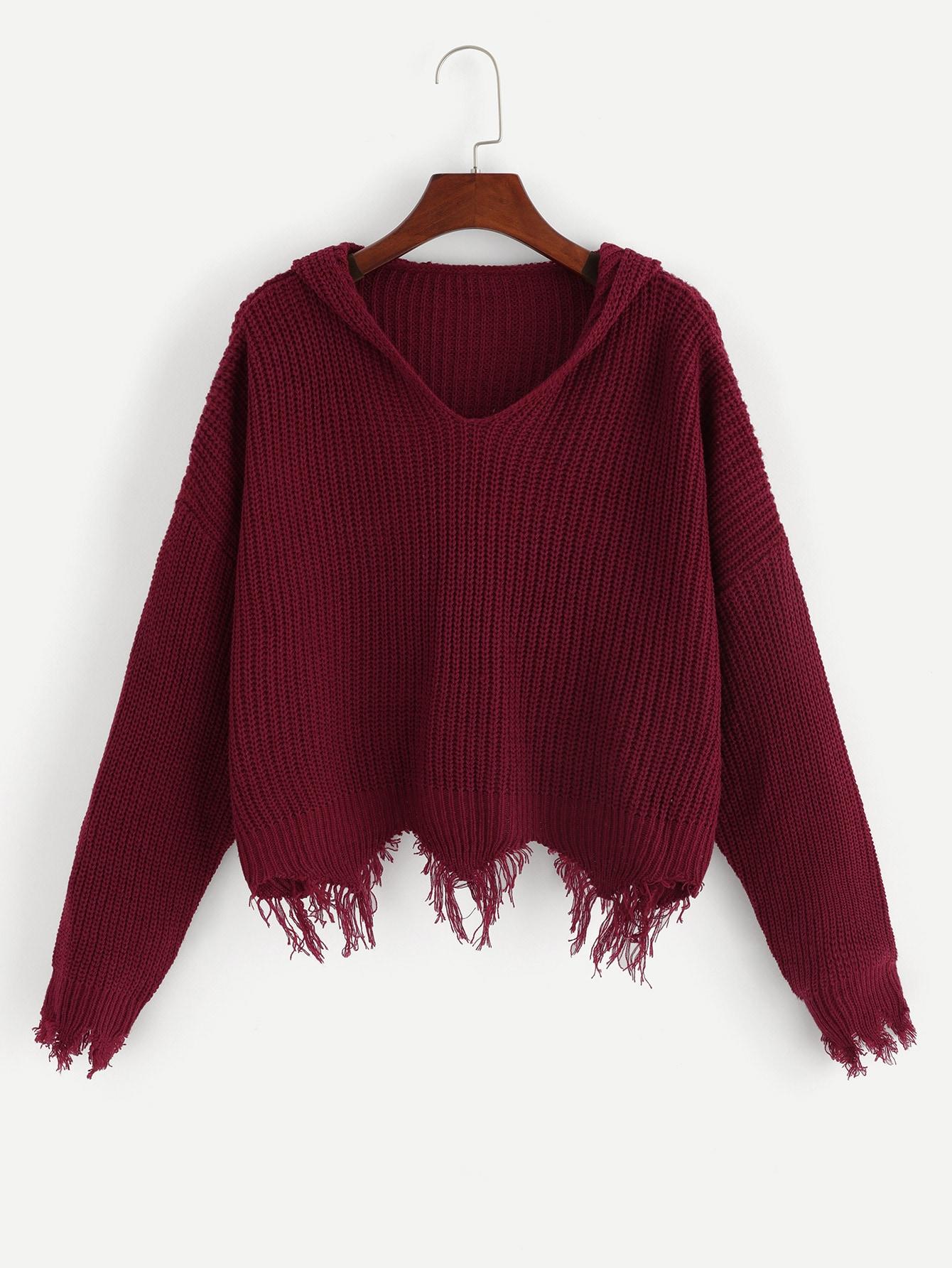 Купить Однотонный свитер с капюшоном, null, SheIn