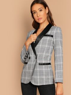 Single Button Plaid Blazer