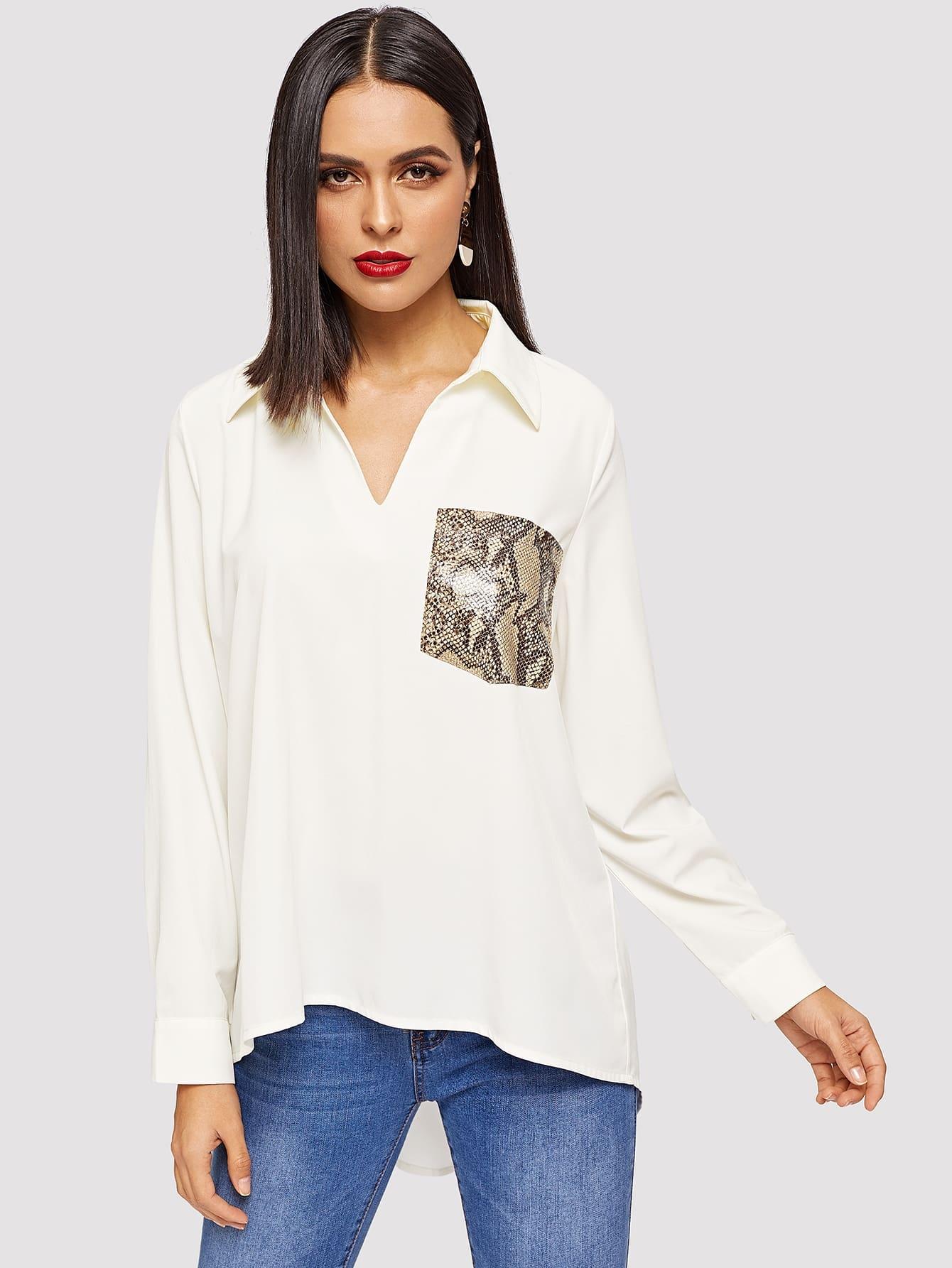 Купить Асимметричная блуза с карманом, Vero, SheIn