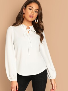 Tied Frill Neck Solid Top