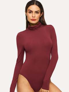 Cowl Neck Solid Bodysuit