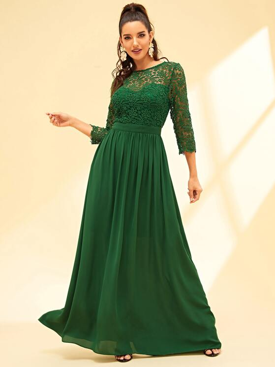 5c6758710f2 Guipure Lace Bodice Prom Dress