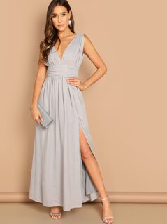 Ruched Waistband High Split Plunge Prom Dress