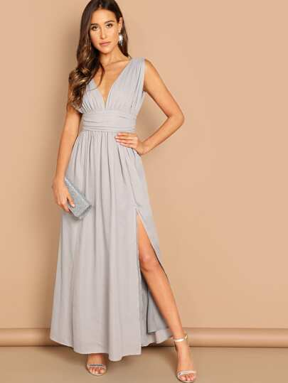 d74e7927aeb Ruched Waistband High Split Plunge Prom Dress