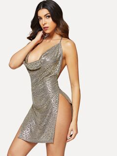 Cowl Neck High Slit Metallic Dress