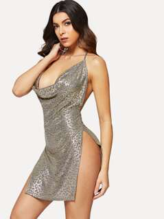 Cowl Neck High Slit Metallic Dress