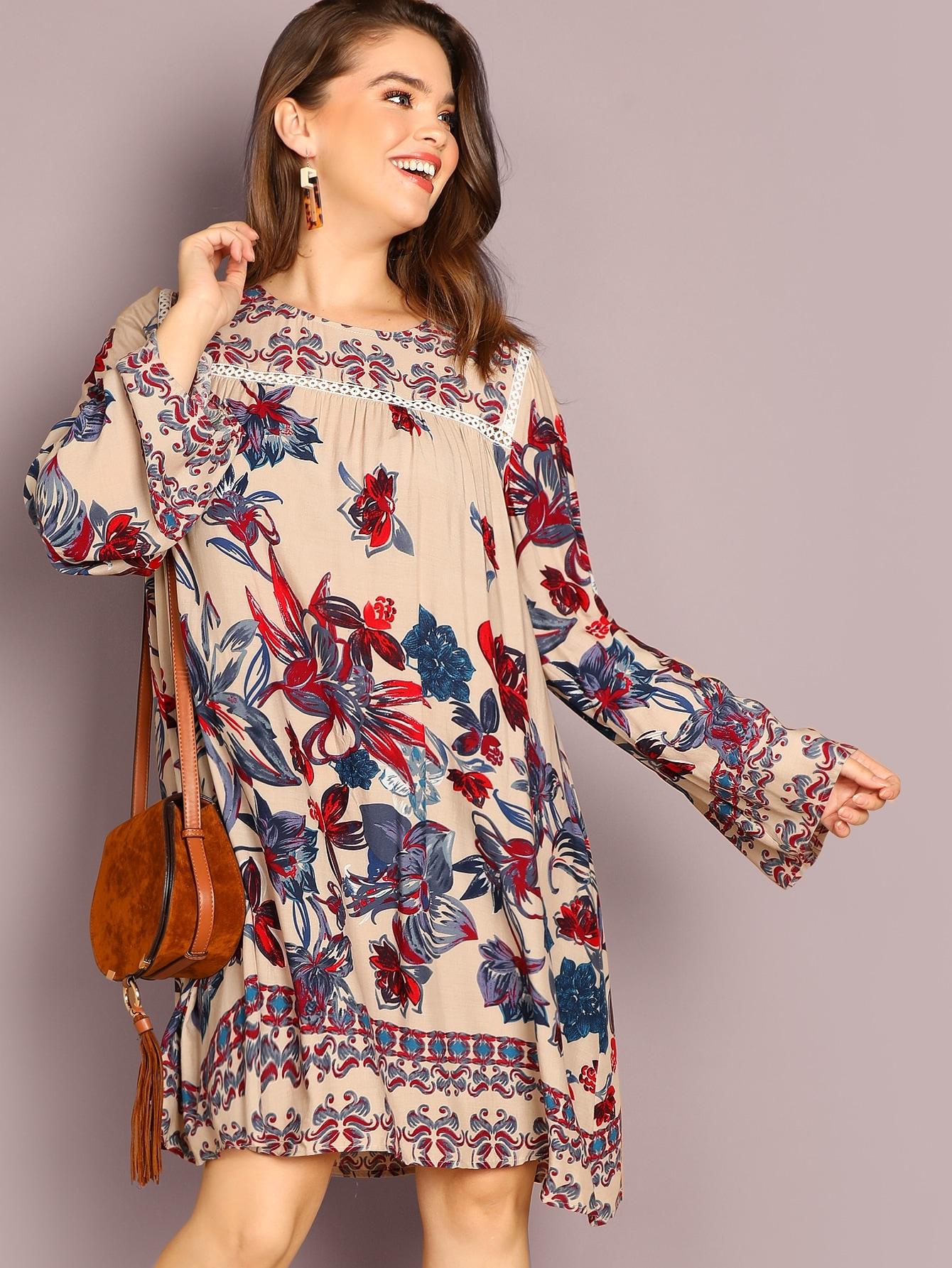Платье с принтом растения размера плюс, Faith Bowman, SheIn  - купить со скидкой