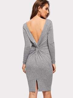 Twist Back Solid Dress