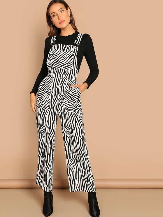 c804bd42d2fd Zebra Print Pocket Print Pinafore Jumpsuit