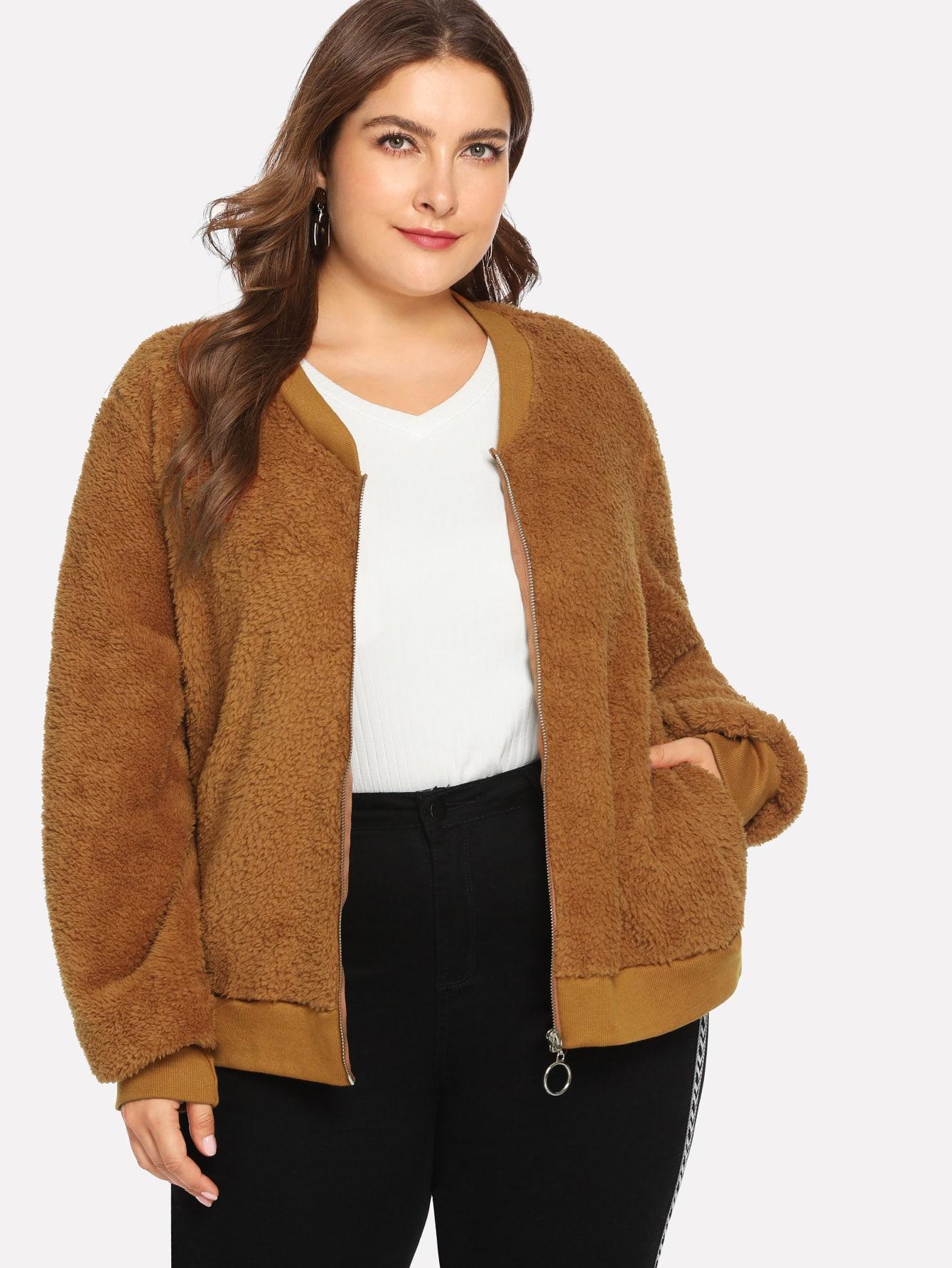 Купить Размера плюс однотонное пушистое пальто на молнии, Franziska, SheIn