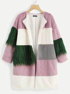 Color Block Contrast Faux Fur Coat