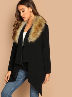 Waterfall Collar Hanky Hem Contrast Faux Fur Coat
