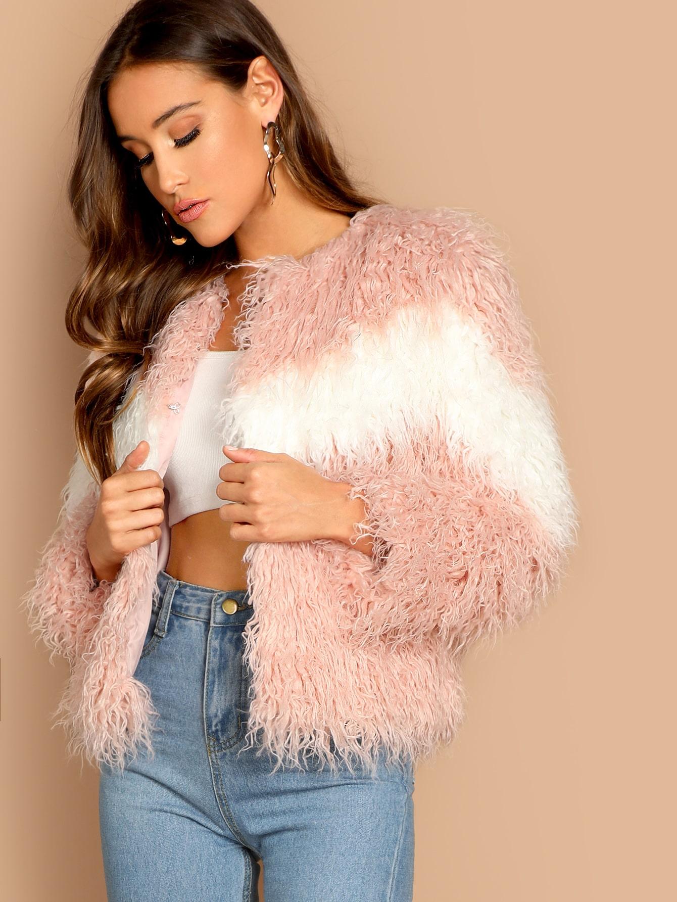 Купить Двухцветное пальто из искусственного меха, Anna Herrin, SheIn