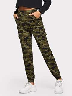 High Waist Pocket Camo Print Pants