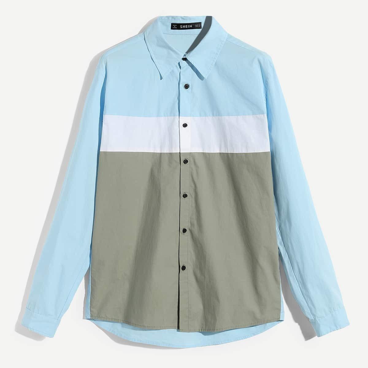 SHEIN / Männer Hemd mit Knöpfen vorn und Farbblock