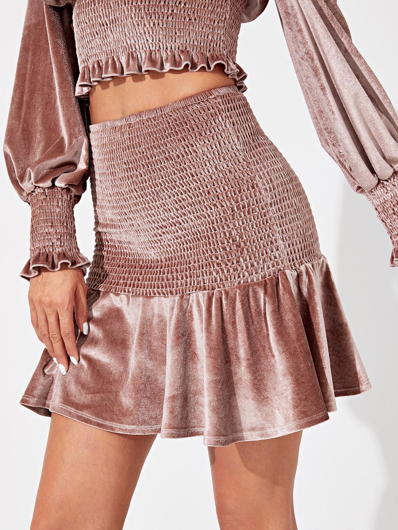Бархатная юбка с оборками, Andy, SheIn  - купить со скидкой