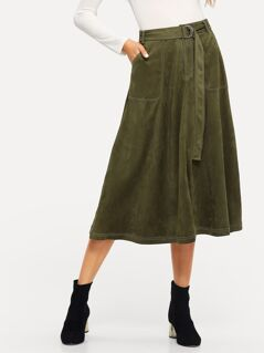 Pocket Front Belted Suede Skirt
