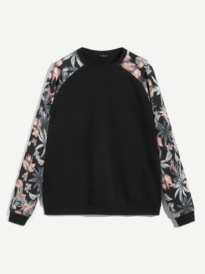 264d4c9717 Men Raglan Sleeve Plants Print Pullover